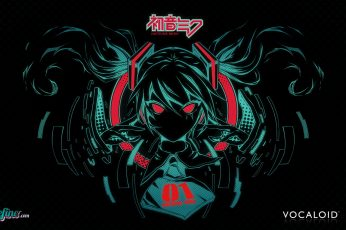 Hatsune Miku wallpaper, Vocaloid, anime girls, twintails, black background