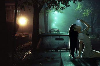 Girl sitting on car hood anime wallpaper, anime girls, phone, night, Kantoku