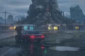 Car wallpaper, apocalyptic, Simon Stålenhag, cyberpunk, science fiction