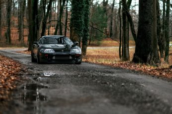 Black car wallpaper, forest, road, Toyota Supra, tuning, dirt road, JDM