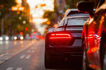 Black vehicle wallpaper, black car, sports car, bokeh, tail light, downtown