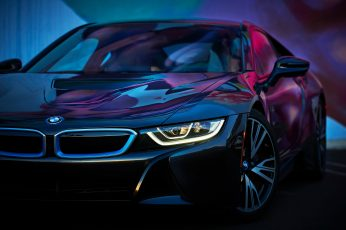 Black BMW sedan wallpaper, car, BMW i8, cyan, pink, neon glow, motor vehicle