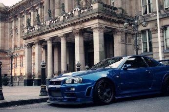Car wallpaper, Nissan GTR R34, blue cars
