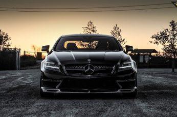 Black Mercedes-Benz car wallpaper, Mercedes-Benz CLS 63 AMG, vehicle, black cars
