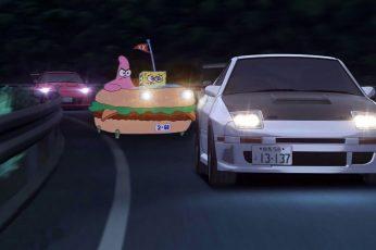 Spongebob wallpaper, SpongeBob SquarePants, race cars, anime