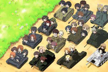Battletanks anime wallpape, Girls und Panzer, chibi, high angle view