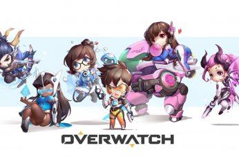 Video games wallpaper, Overwatch, chibi, Hanzo (Overwatch), Symmetra (Overwatch)