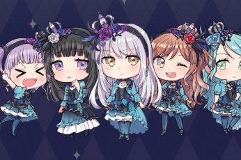 Band dream wallpaper, chibi, udagawa ako, hikawa sayo, minato yukina