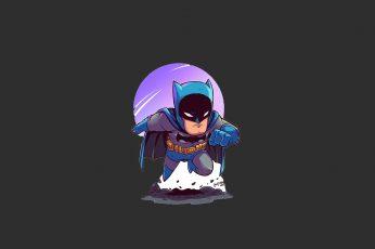 Batman digital wallpaper, minimalism, chibi, one person, black background