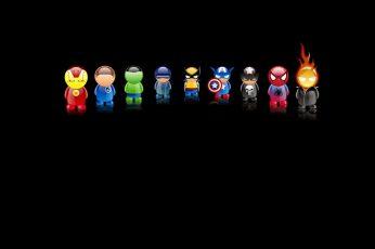 The Avengers chibi wallpaper version illustrations, Iron Man, Fantastic Four