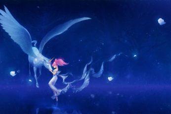 Fantasy art wallpaper, Sailor Moon, Chibi-Usagi, water, nature, blue