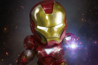 Iron Man wallpaper, Chibi, Marvel Comics, Fan art, HD