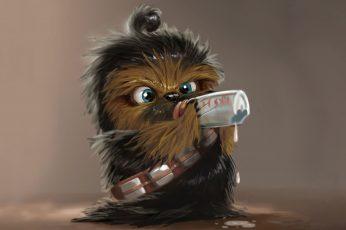 Baby Chewbacca wallpaper, chibi, milk, baby animals, Star Wars