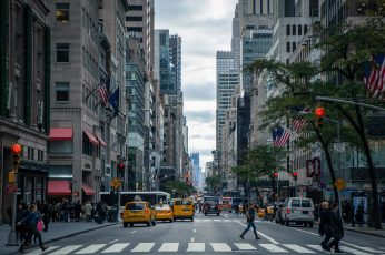 City wallpaper, cars, crossing, road, action, america, architecture, avenue