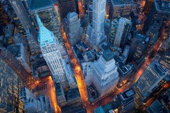 Landscape wallpaper, cityscape, New York City, lights, aerial view, skyscraper
