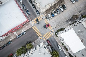 Street Road Intersection From Above wallpaper, aerial, aerial view, cars