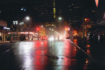 Vehicle wallpaper on wet road during nighttime, urban, downtown, city, building