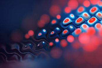 Red and blue wallpaper, fractal, abstract, digital art, bokeh