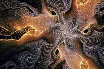 Abstract wallpaper, fractal, dark, gold, digital art, artwork, no people