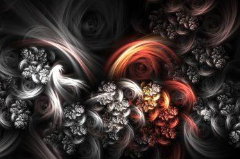 Orange wallpaper, black, and gray floral digital wallpaper, abstract, fractal