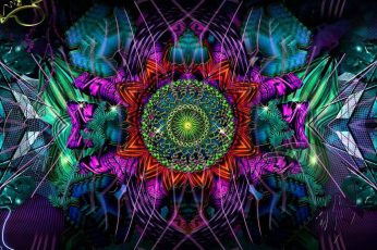 Psychedelic art wallpaper, fractal art, digital art, kaleidoscope, design