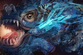 Psychedelic wallpaper, dragon, abstract, trippy, fractal, art and craft