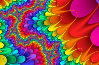 Colorful wallpaper, art, artwork, fractal art, orange, colors, psychedelic art