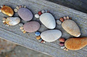 Joke wallpaper, funny, summer, creative, stone, stones, sole, footprint