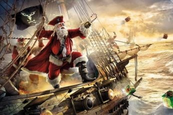 Pirate Santa on a Ship wallpaper, canon, christmas, fantasy art, funny