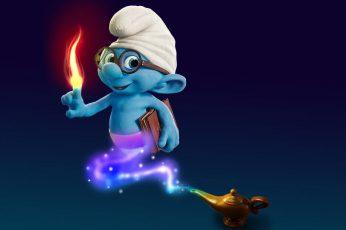 Smurf wallpaper, Smurf illustration, Funny, representation, blue, burning