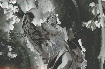 Statue wallpaper, nature, glitch art