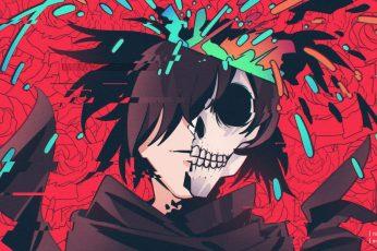 Anime wallpaper, Dororo, Glitch Art, Hyakkimaru (Dororo), Skull