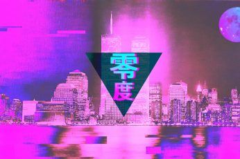 Pink city wallpaper, vaporwave, glitch art, 3D, 3d design, Photoshop