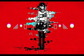 Female anime character digital wallpaper, red, glitch art, communication