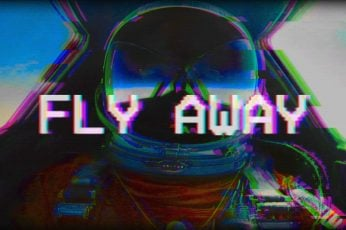 Orange and gray wallpaper space helmet with text overlay, vaporwave, glitch art