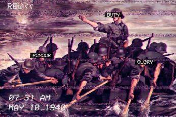 Fashwave wallpaper, glitch art, vaporwave, Europe, soldier, war, boat