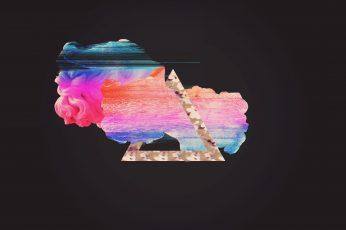 Multicolored logo wallpaper, glitch art, vaporwave, abstract, multi colored