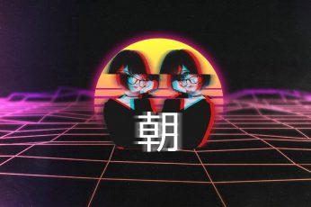 Vaporwave wallpaper, anime, anime girls, glitch art, grid