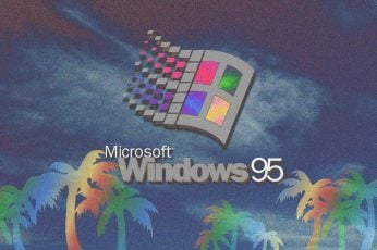 Microsoft Windows 95 wallpaper, vaporwave, glitch art, 3D, 3d design