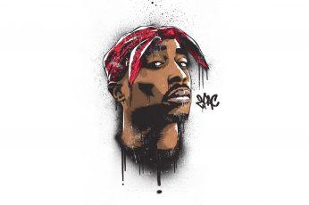 Tupak Shakur portrait painting wallpaper, 2Pac, hip hop, Makaveli, men