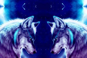 Animals wallpaper, space, wolf, art, wolves, night, digital art
