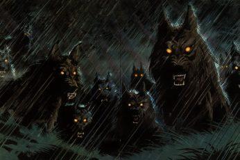 Group of wolves wallpaper, fantasy art, artwork, wolf, dog, night