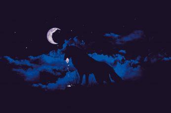 Silhouette of wolf wallpaper, moonlight, clouds, fantasy art, night, artwork