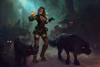 Female beast master digital wallpaper, fantasy art, magic, wolf