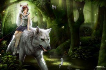 Princess Mononoke digital wallpaper, wolf, forest, fantasy girl