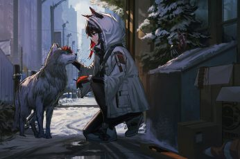 Arknights wallpaper, animal ears, wolf, snow, coats, smiling, city, trash