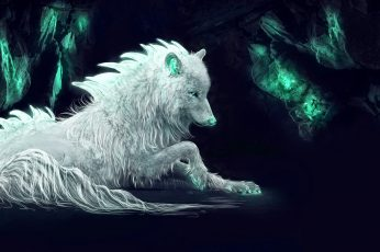 Darkness wallpaper, wolf, white wolf, fantasy art, imagination, mythical creature
