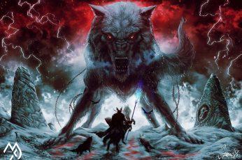 Andrea Guardino wallpaper, fantasy art, creature, artwork, Odin, Sleipnir