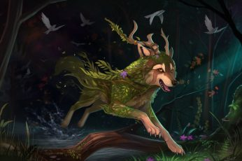 Black and green dragon painting wallpaper, furry, wolf, animals, fantasy art