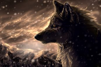 Wolf wallpaper illustration, anime, animals, snow, fantasy art, animal themes
